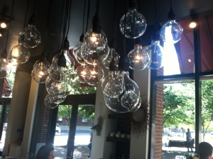 Pendant Fixture over Floral Area